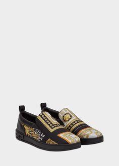 VERSACE Signature 17 Slip-On Sneakers. #versace #shoes #sneakers