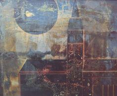 """Vicente Martín """"Iglesia y luna"""" Acrílico sobre tela  60 x 73 cm. Año 1975  Firmado y fechado abajo a la izquierda  http://www.portondesanpedro.com/ver-producto.php?id=12764"""