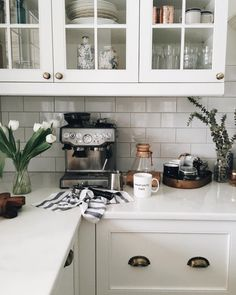 KITCHEN: subway tile, white, brass