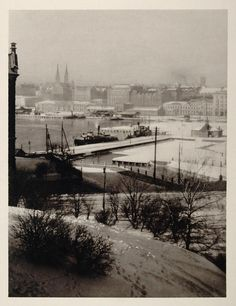 The Katajanokka harbour in central Helsinki, view from Uspenski Cathedral | 1930 Helsinki Helsingfors Finland Suomi Winter View - ORIGINAL PHOTOGRAVURE SC2