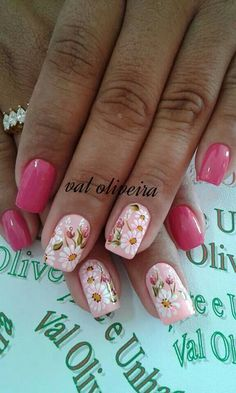 Ideas Nails Art French Flower For 2019 Fingernail Designs, Nail Art Designs, Nails Design, Spring Nail Art, Spring Nails, Spring Art, Fancy Nails, Trendy Nails, Nagel Stamping