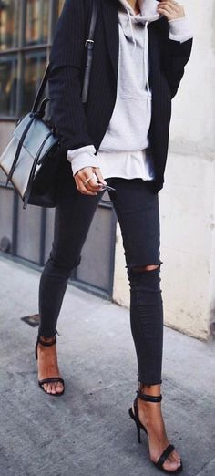 fall street style. layers. tee, sweatshirt, stripe blazer. ripped skinny jeans. heeled sandals.