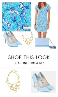 """""""Mermaid Print Dress"""" by sassyladies ❤ liked on Polyvore featuring Lilly Pulitzer, JustFab and Kate Spade"""