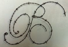 This Alphabet Z K E Sculpture Beth Brittany Britney Bob is just one of the custom, handmade pieces you'll find in our sculpture shops. Barb Wire Crafts, Wire Hanger Crafts, Wire Hangers, Metal Crafts, Barbed Wire Decor, Barbed Wire Wreath, Metal Yard Art, Scrap Metal Art, Porch Vases