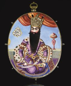 An enamelled and diamond-set portrait medallion of Fath 'Ali Shah Qajar (r.1797–1834), Persia, circa 1800-15 | Lot | Sotheby's