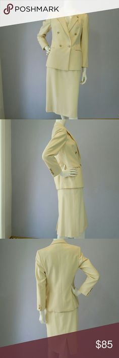 """Lebow Ivory 2 Piece Wool Skirt Suit Sz 10/12 This is a Beautifully Tailored, Classy Ivory Wool """"Lebow"""" Double-Breasted Skirt Suit. Jacket and Skirt are fully lined. Jacket has jetted pockets on both front sides, beautiful Ivory with Gold Tone surround Buttons. A couple of the buttons show a bit of wear and one of the cuff buttons on the left sleeve is missing (see pic.) Small spot above right cuff buttons (see pic.) Size is NOT marked but assuming it's around a Sz 10. Happy to provide…"""