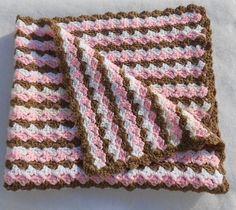 Pink Brown and White Baby Blanket Handmade Crochet by CrookedYarn, $32.99
