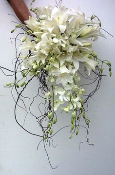 Bridal bouquet done with Madonna Lillies, Denrobium Orchids and Orchid Springs with Nuga roots. White Wedding Bouquets, Bride Bouquets, Flower Bouquet Wedding, Floral Bouquets, Floral Wedding, Wedding Colours, Bouquet En Cascade, Cascading Bouquets, Bouquet Images