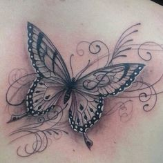 Butterfly and script design tattoo tatoo tatoeage ideeën, ta Leg Tattoos, Flower Tattoos, Body Art Tattoos, Small Tattoos, Sleeve Tattoos, Cool Tattoos, Temporary Tattoos, Tatoos, Butterfly Tattoo Designs