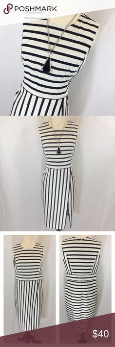 PRICE FIRM NWT Ann Taylor striped dress Purchased 2 weeks ago online final sale and sadly the bust is too large for me. Textured fabric cream and black Ann Taylor dress size 6. Only top is lined, skirt is not. 40 inches long 17 1/2 inches armpit to armpit 32 inch waist Ann Taylor Dresses Midi