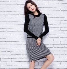 2016 womens winter Women's Sets Cashmere Sweater and dress women High Quality…
