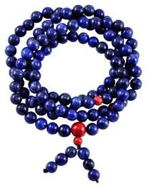 Each bead is 7mm wide. There are 108 lapis lazuli beads that make up this mala. There are also 3 8mm jasper counting beads throughout the mala, and one large 10mm jasper counting bead on the end of the mala. There are 6 7 mm lapis lazuli counting beads on the end of the mala, and these are to keep track of rotations around the mala. There are also 6 small separation beads in silver, around both sides of each of the three jasper 8mm counting beads. This mala was handmade in Nepal.