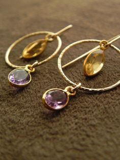 Faceted Amethyst and Citrine 14kt Gold Filled by allisonmooney, $45.00