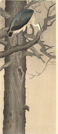 Grey Heron  Koson (Naga Oban)  Ca 1910.