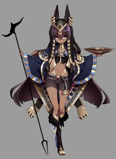 A very cute Anime version of egyptian god(dess) Anubis. Black Characters, Girls Characters, Fantasy Characters, Female Characters, Anime Characters, Female Character Design, Character Design References, Character Design Inspiration, Character Concept