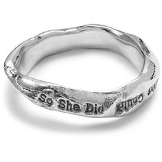 """Jen Pleasants """"She Believed She Could"""" Sterling Silver Ring (€70) ❤ liked on Polyvore featuring jewelry, rings, sterling silver rings, sterling silver jewelry and sterling silver jewellery"""