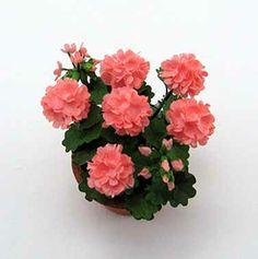 Salmon geranium - Dollhouse miniature flowers