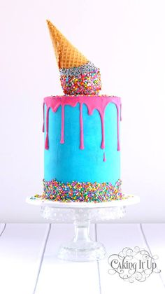 Beautiful Cake Pictures: Melting Ice Cream Birthday Cake With Sprinkles - Birthday Cake, Colorful Cakes, Sprinkles -