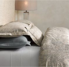 master-bedroom bedding, touch of blue...Turn Paint into Purpose