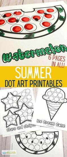 Summer Activities For Kids, Toddler Activities, Toddler Crafts, Seasons Activities, Toddler Fun, Color Worksheets For Preschool, Free Preschool, Free Worksheets, Dot Painting