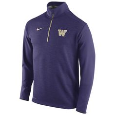 Mens Washington Huskies Nike Purple Football Coaches Sideline Half Zip Knit Performance Jacket