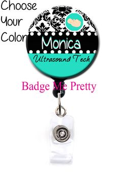 Retractable Id Badge Reel With Your Name Damask by BadgeMePretty