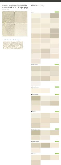 """Marble Collection Floor or Wall Marble Tile 6"""" x 6"""" (10 sq.ft/pkg). Travertine Tile. Flooring & Rugs. Menards. Behr. Valspar Paint. Benjamin Moore. PPG Pittsburgh. Dutch Boy. Ralph Lauren Paint. Sherwin Williams. Olympic.  Click the gray Visit button to see the matching paint names."""
