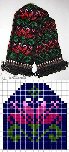 This Pin was discovered by Юли Knitted Mittens Pattern, Fair Isle Knitting Patterns, Knit Mittens, Knitting Charts, Knitted Gloves, Knitting Socks, Knitting Stitches, Baby Knitting, Crochet Patterns