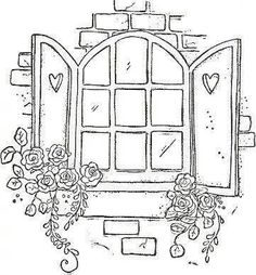 Very pretty pattern of a Window with shutters and Roses to hand embroider Hand Embroidery Patterns, Embroidery Stitches, Embroidery Designs, Doodle Drawings, Doodle Art, Magnolia Stamps, Magnolias, Digi Stamps, Coloring Book Pages