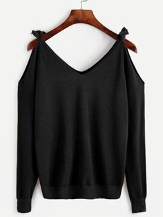 Shop Black Tie Cold Shoulder Sweater online. SheIn offers Black Tie Cold Shoulder Sweater & more to fit your fashionable needs.