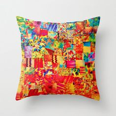 PAINTING THE SOUL Decorative Throw Pillow Cushion Cover 18 x 18 Vibrant Collage Abstract Acrylic Watercolor Painting Rainbow Colorful Art