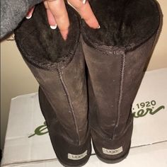 TALL UGGS Tall UGGs. Chocolate. Size 8. Only worn 3 times! UGG Shoes Winter & Rain Boots