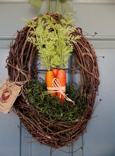 Easter Wreath  Grapevine with carrots and Spanish by RedRobynLane, $49.95