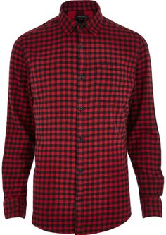 River Island Red Check Long Sleeve Shirt