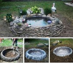 New backyard pond diy tractor tire ideas Small Backyard Landscaping, Landscaping With Rocks, Landscaping Tips, Backyard Ideas, Backyard Ducks, Ponds Backyard, Garden Ponds, Backyard Chickens, Tractor Tire Pond