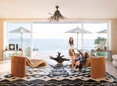 Shop Designer Kelly Wearstler's House: How to Recreate Her Luxurious Beachfront Oasis - Family Room from InStyle.com