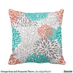 Orange Gray and Turquoise Throw Pillow