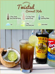 """The Torani Vintage Modern Soda stand literally put the """"lime in the coconut"""" for this one! We twisted things up by combining Torani Spicy Kola Nut syrup with Torani Coconut syrup & a splash of freshly squeezed lime juice.  Try it out for the summer!"""