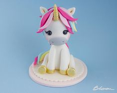 Little Unicorn Cake Topper Unicorn Topper Unicorn Cake . Unicorn Cake Design, Diy Unicorn Cake, Unicorn Cake Topper, Baby Unicorn, First Birthday Cupcakes, Happy Birthday Cake Topper, Themed Birthday Cakes, Fondant Figures, Cupcake Cake Designs