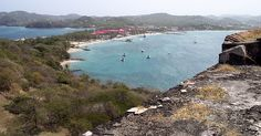 View of Rodney Bay from the fort on Pigeon Island, St. Lucia.