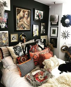 Head to toe eclecticism in the bedroom of the fabulous . Cleverly designed I love the combination of blacks and burnt… Home Bedroom, Bedroom Decor, Aesthetic Room Decor, Home And Deco, Dream Rooms, New Room, House Rooms, Apartment Living, Home Decor Inspiration