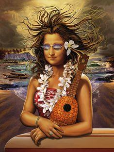 """Mona Kea"" by Rick Rietveld - Mona Lisa as Hawaiian art.because it's funny. Tachisme, Monnalisa Kids, Sweet Cat, Ukulele Art, La Madone, Mona Lisa Parody, Mona Lisa Smile, Tiki Art, Hawaiian Art"