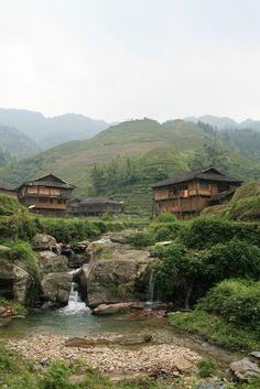 Ping'an village in Longsheng County, Guilin, Guangxi Province_ China