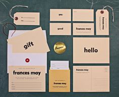 Re-branding of Frances May, a fashion boutique in Portland, Oregon by Official Manufacturing Company (Portland, Oregon). Built on the nostalgia of elementary school flashcards, stickers of approval and library book slips, the design concept solidifed around the vintage classroom aesthetic.