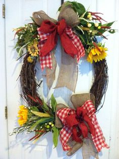 Sunflowers, wild flowers, burlap and gingham ribbon