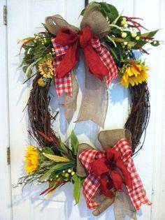 Sunflowers, wild flowers, burlap and gingham ribbon
