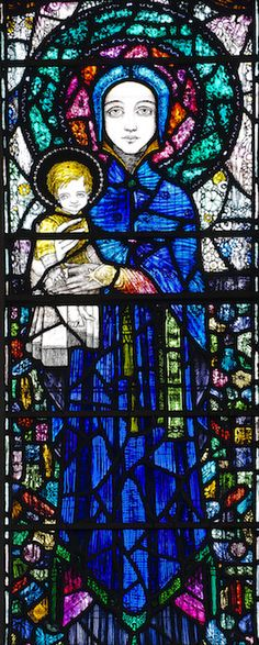 https://flic.kr/p/C9tmcZ | STURMINSTER NEWTON, St Mary.   Harry Clarke. | Harry Clarke's lovely Art-Deco style window at Sturminster Newton, 1921.   In memory of the young Roma Spencer-Smith who died in the great flu epidemic.   Centre light is the Virgin Mary and Christ-child, possibly based on her young son.   Left light is St Elizabeth of Hungary, the patron saint of nursing - Roma was a nurse in the Great War - and it is in Roma's likeness, hence the red hair.   The right light is St…