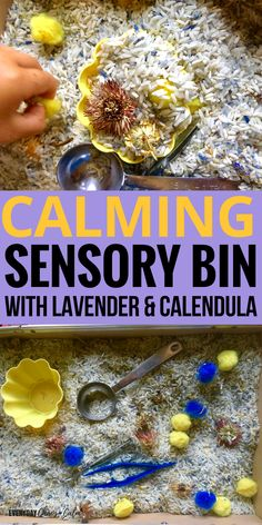 Sensory Activities for Kids: Create this simple calming sensory bin made with herbs and oils to help you child relax while exploring sensory play!