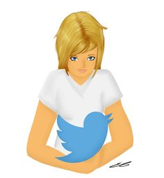 """Twitter girl"" by me, Tristan Journey/Emily Tristan. I do not own the Twitter Logo. 3/21/15 #twitter #drawing #bird #blonde #girl"