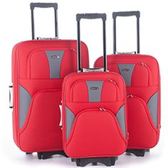 SET DE 3 VALISES TEXTILE ROUGE